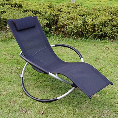 FVGBHN Tumbona mecedora cómoda de jardín con reposapiés ajustable y respaldo reclinable plegable para patio