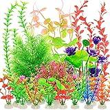YMHPRIDE 22 Piezas de Plantas de plástico para acuarios, Plantas de Agua Artificiales, Plantas de Acuario para Peces, Plantas acuáticas Falsas, decoración de acuarios (Colores Mezclados)