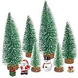 JINGYOU Mini Albero di Natale,Mini Alberi Sisal,Mini Albero di Natale Artificiale,Spazzola...
