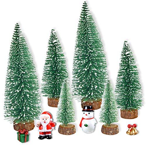 JINGYOU Mini Albero di Natale,Mini Alberi Sisal,Mini Albero di Natale Artificiale,Spazzola per Bottiglia Mini Snow Frost Alberi,Piccolo Albero di Natale per Decorazione Tavolo di Festa di Natale