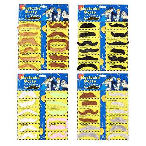 Juvale Fake Mustaches - 48-Pack Self-Adhesive Mustache Stickers, Costume Accessories