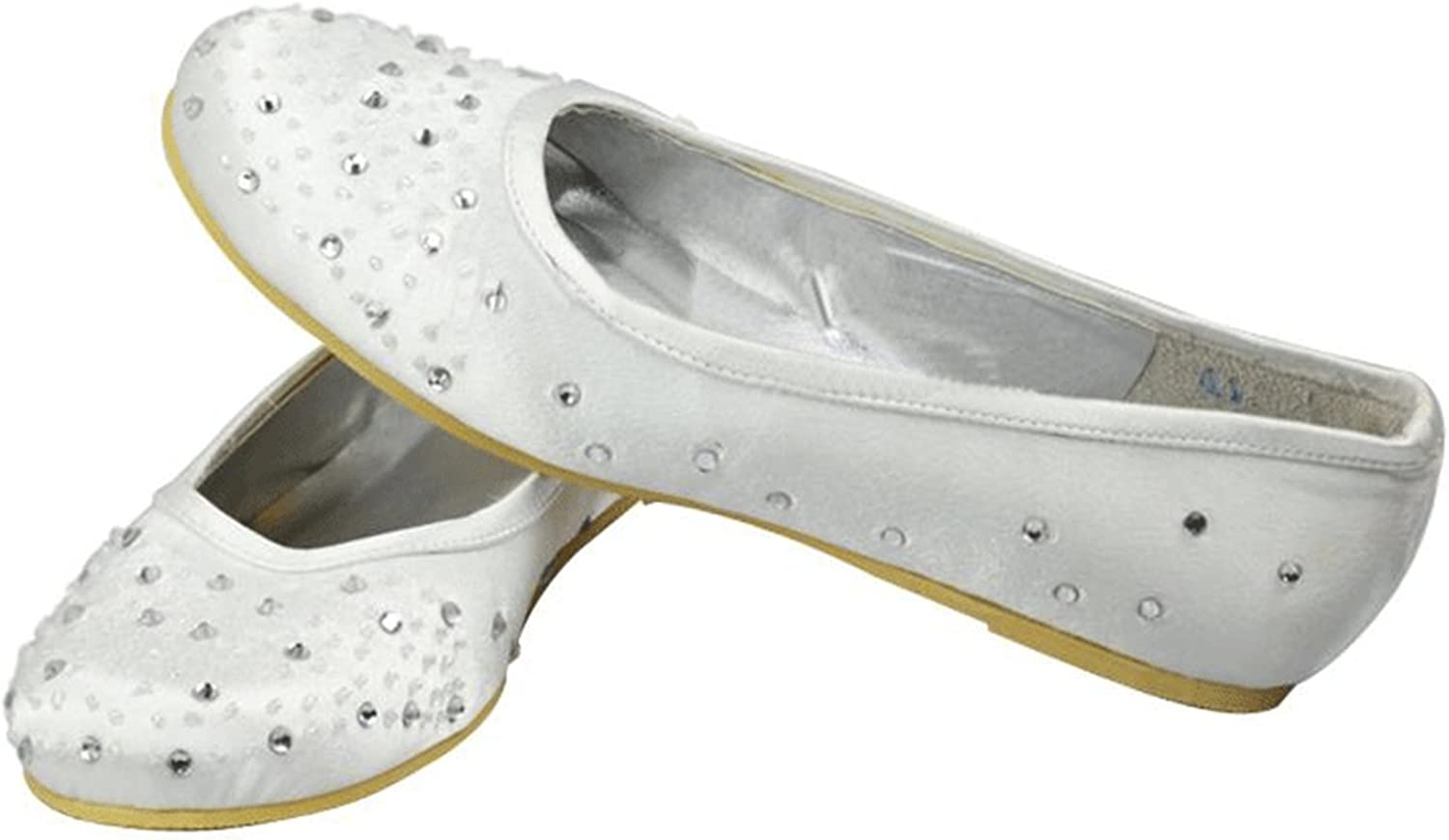Kevin Fashion MZ1221 Women's Crystals Satin Bridal Wedding Formal Party Evening Prom Ballet Flats