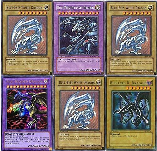 Yu-Gi-Oh!! Blue Eyes Ultimate Dragon! Five-Headed Dragon and 3 Blue Eyes White Dragon's and Red Eyes B. Dragon! MEGA Dragon 100 Yugioh Card lot!! with RARES Guaranteed