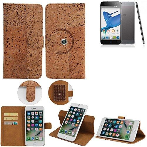 K-S-Trade Schutz Hülle Für ZTE Blade L6 Handyhülle Kork Handy Tasche Korkhülle Schutzhülle Handytasche Wallet Case Walletcase Flip Cover Smartphone Handyhülle