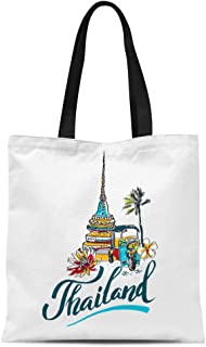Semtomn Cotton Canvas Tote Bag Bangkok of for Traveling to Thailand Travel Lettering Thai Reusable Shoulder Grocery Shopping Bags Handbag Printed