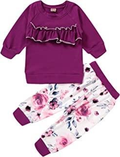 Toddler Baby Girl Clothes Outfits Ruffle Romper Floral Pants Clothing Set