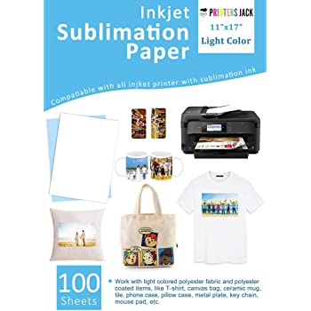 """Sublimation Paper 100 Sheets 11"""" x 17"""" for Any Epson Sawgrass Inkjet Printer with Sublimation Ink for T-shirt, Ceramic, Mouse Pad, Towel DIY Unique Gifts for Christmas"""