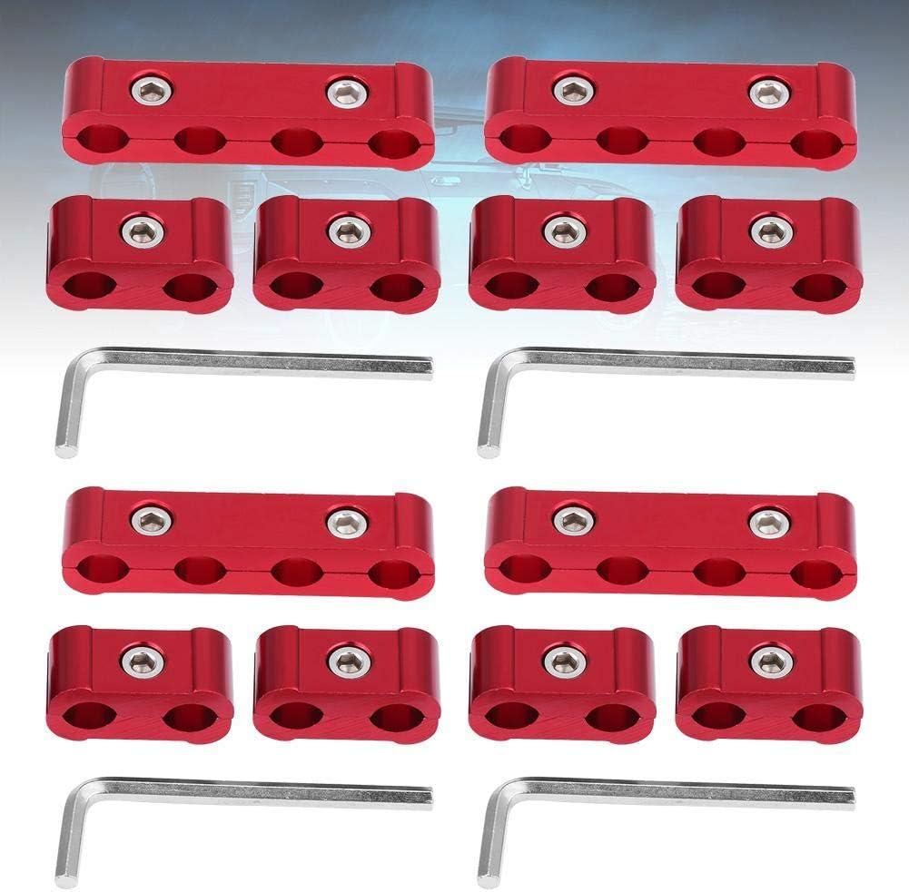 rojo Separador de cables de aleaci/ón de aluminio de 12 piezas 8 mm 9 mm 10 mm Divisor de cables del motor Separador de cables