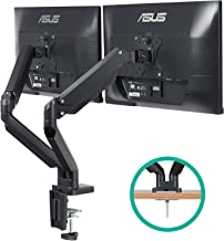 $94 Get EleTab Dual Monitor Mount Stand - Height Adjustable Monitor Arm Stand Fully Articulating Counterbalance Gas Spring Desk Mount Fits for 2 Computer Screens 17 to 32 inches
