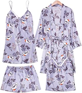 E-girl Pijama para mujer, juego de 4 piezas, albornoz, bata, camisón, pantalón, pantalón corto de pijama de fibra regenera...