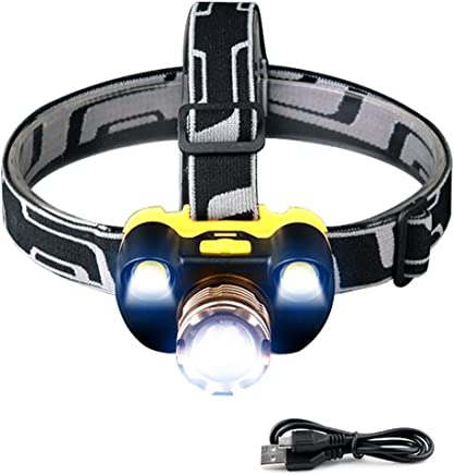 DJSkd Outdoor Lighting Head-Mounted Flashlight Night Fishing Zoom Strong Head Light LED Rechargeable Long-Range Super Bright (Color : Gold)