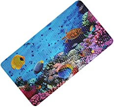 FEIDOL Non Slip Baby Bath Mat with Suction Cups for Tub, Shower Anti-Slip Mat, 27 x 15 Inch Cute Pattern Design, Bathtub Mat for Kids (Blue Ocean)
