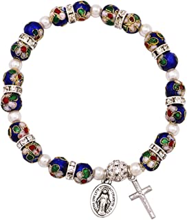 Women's Cloisonne Beaded Stretch Rosary Bracelet with Crucifix and Miraculous Medal