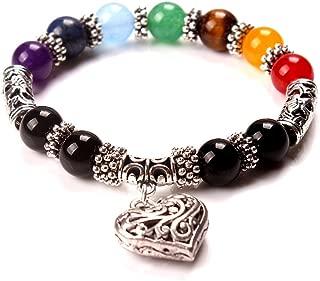7 Chakra Reiki Healing Balance Natural Gemstone Round Beads Yoga Heart Charm Bracelets