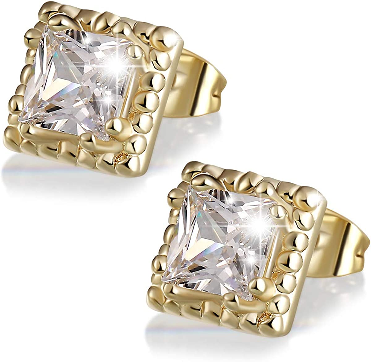 MAIDEARS Square CZ Stud Earrings for 1 Rare Women Three layer and Max 69% OFF Men
