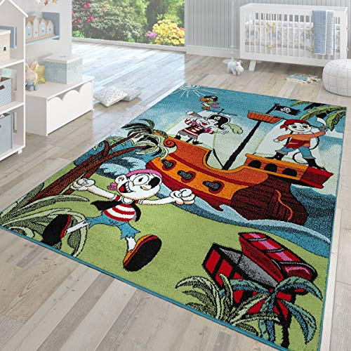 TT Home Alfombra para habitación Infantil de Pelo Corto, diseño Moderno Barco Pirata, Turquesa, 120 x 170 cm
