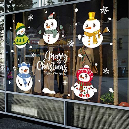 BLOUR Cartoon Weihnachtsaufkleber für Fenster Vitrine abnehmbare Weihnachtsmann Hirsch Schlitten Home Decor Aufkleber Kleber Neujahr Glas Wandbild
