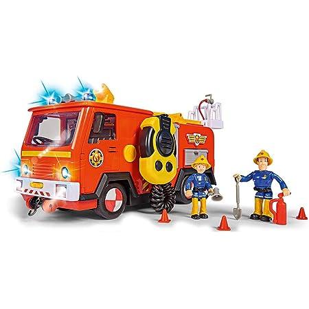 Simba 109251085 Fireman Sam Ultimate Jupiter, camion dei pompieri con 2 figure, luci e suoni, funzione di spruzzo d'acqua, verricello, da 3 anni