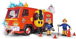 SIMBA 109251085 Brandweerman Sam Ultimate Jupiter, brandweerauto met 2 figuren, licht en geluid, waterspuitfunctie, lier, ...