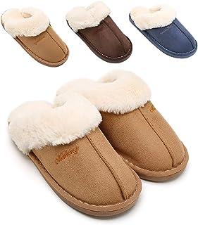 SOSUSHOE Womens Slippers, Fluffy Slip On House Slippers Clog Soft Indoor Outdoor Slipper for Winter