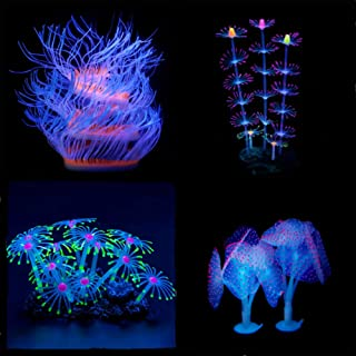 Aquarium Fish Tank Ornament,Simulation Coral Plant Decorations Glowing Silicone Accessories 5Pieces