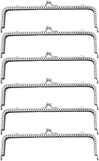 HEALLILY 6PCS 18cm Vintage Silver Tone Metal Purse Frame Kiss Clasp Purse Handles Handbag for Purse Bag Wallet (Silver)