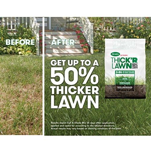 Scotts Turf Builder Thick'R Lawn Sun and Shade, 12 lb. - 3-in-1 Solution for Thin Lawns - Combination Seed, Fertilizer and Soil Improver for a Thicker, Greener Lawn - Covers 1,200 sq. ft.