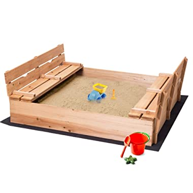 Costzon Kids Foldable Wooden Sandbox with Bench Seats, Children Convertible Outdoor Playset with 1 Piece Black Non-Woven Fabric Cloth for Backyard, Home, Lawn, Cedar Square Cabana Sandbox (47-Inch)