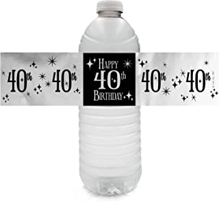 Black and Silver 40th Birthday Party Water Bottle Labels - Shiny Foil - 24 Count