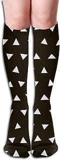akingstore, Triángulos en blanco y negro Triángulos en blanco y negro Guardería Bebé Niños Mujeres simples Tubo Rodilla Muslo Medias altas Calcetines Cosplay 50 cm (19,6 pulgadas)