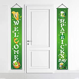 Lucky St. Patty's Day Welcome Signs Saint Shamrock Porch Sign Leprechaun Decor Hanging Front Door Indoor Outdoor Accessories…