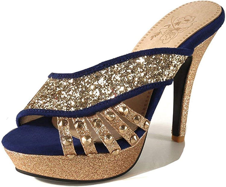 Women's Peep Toe Slide Sandals with Platform - Studded Stilettos Slip On - Sparkly Sequin High Heel