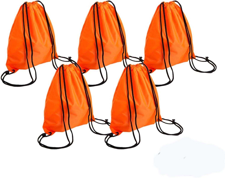 Bonaweite Drawstring Bag Canvas Sport Travel Home Storage Use String Bag Backpack orange 5 Set