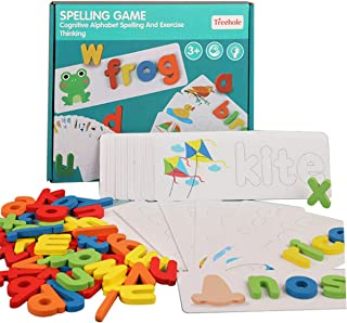 Wooden Toddler See and Spelling Learning Toy Matching Alphabet Word Game with 56 Different Words on 28 Two-Sided Cognitive...