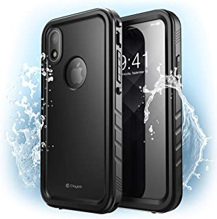 iPhone XR Waterproof Case, Clayco Omni Underwater Case Shockproof Snowproof Dirtproof Case with Built-in Screen Protector for Apple iPhone XR 6.1 Inch 2018 (Black)