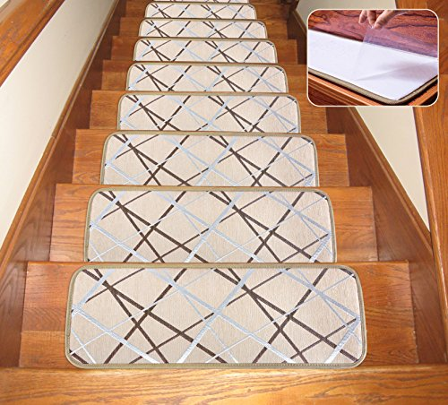 Seloom Washable Non-Slip Stair Treads Carpet with Skid Resistant Rubber Backing Specialized for Indoor Wooden Steps (25.5x9.5 Inch, 13 Pieces, Beige)