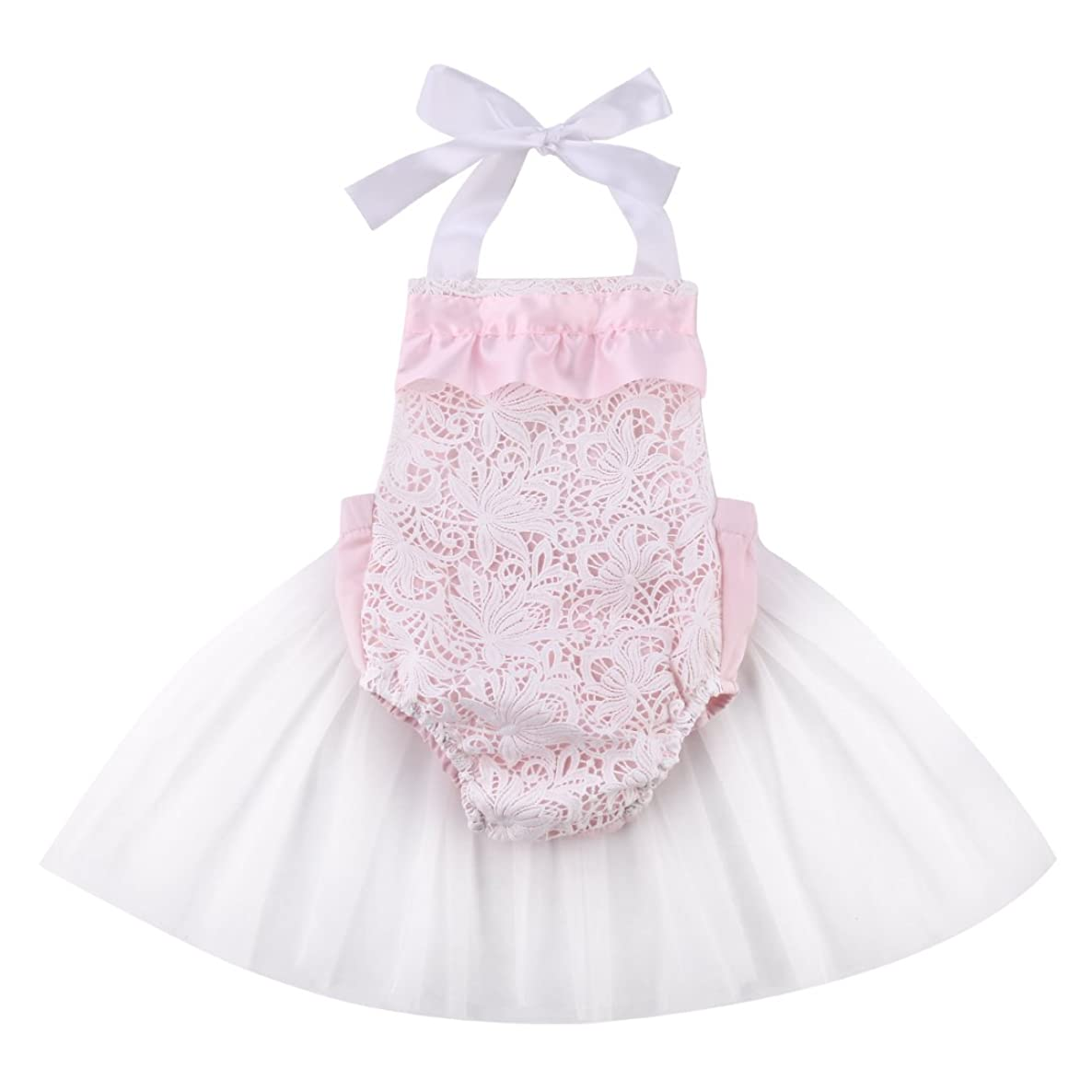 Cute Newborn Baby Girl Lace Flower Tulle Bodysuit Romper Outfits Sunsuit 0-18M