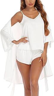Sponsored Ad - Ekouaer Silk Pajamas Set 3pcs Satin Cami Pjs Set with Robe Sleepwear Camisole Nightwear Wife Gift