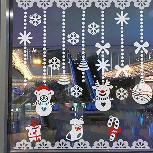 Naler Weihnachten Schneemann Schneeflocken Fensterbild Abnehmbare Fensterdeko Statisch Haftende PVC Aufkleber Winter Dekoration