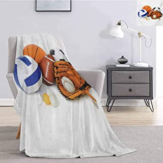 Luoiaax Sports Rugged or Durable Camping Blanket Many Different Sports Balls All Together Championship Ping Pong Volleyball Olympics Warm and Washable W57 x L74 Inch Multicolor