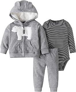 amropi Bebé Niñas Manga Larga Conjunto de Ropa Capucha Abrigos Peleles Pantalones 3 Piezas Cómodo Trajes por 3-24 Meses