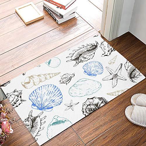 Ocean Shell Line - Alfombra de verano para puerta de cocina, creativa para baño, antideslizante, lavable, tamaño A1, 50 x 160 cm