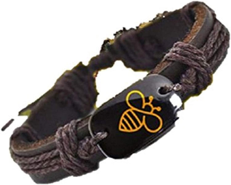 Vader Unlimited Yellow Bee Awareness Brown Vegan Leather Adjustable Bracelet
