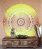 GURU SHOP Boho-Style Wandbehang, Indische Tagesdecke Mandala Druck - Orange/gelb, Baumwolle, 230x210 cm, Bettüberwurf, Sofa Überwurf
