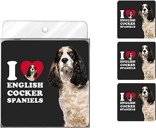 Tree-Free Greetings NC39045 I Heart English Cocker Spaniels 4-Pack Artful Coaster Set, Black and White