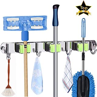Mop and Broom Holder, Wall Mount Metal Stainless Steel Garden Broom Mop holder organizer, Screws or Self Adhesive Utility Broom Holder with 3 Racks 4 Hooks for Bathroom Garage Kitchen and Garden