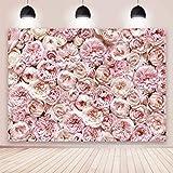 BINQOO Fondo floral de 7 x 5 pies para fotografía, Blush Rose Blooms, Fondo de fotos para baby shower, día de San Valentín, boda, fiesta de cumpleaños, sesión de fotos