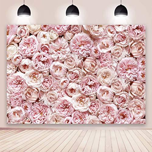 BINQOO Toile de Fond Florale pour la Photographie de 2,1 x 1,5 m pour fête Blush Rose Fleurs Fleur Fond Photo Nuptiale bébé Douche Femmes Filles Mariage Amoureux fête d'anniversaire Photoshoot