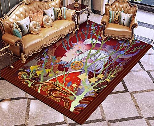 Totots Alfombra para la serie Oriental Girl, nuevas alfombrillas de puerta chinas, alfombrillas de piso antideslizantes, alfombras rectangulares impresas en 3D, alfombras de sofá de salón clásico, alf
