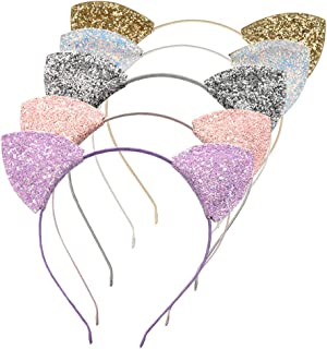 Lirila Delicate Colour Glitter Cat Headband Hair Headband hair bands for Girls and Women for Party and Daily Wearing, Assorted Colors,one Size Pack of 5 Colors